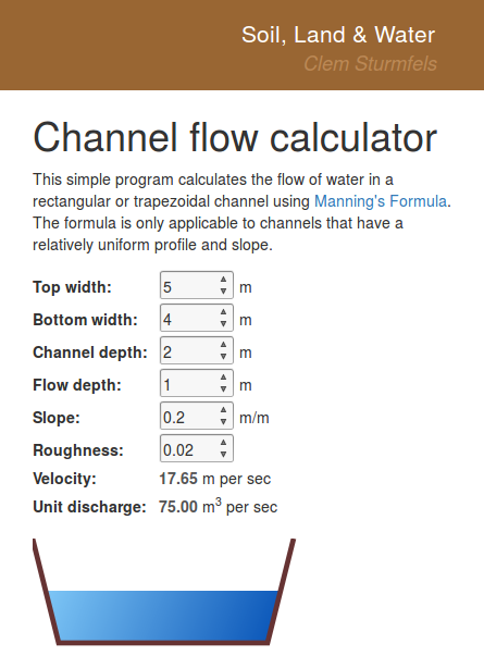 Screenshot of channel flow calculator
